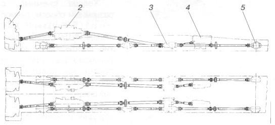 Схема трансмиссии ЗИЛ-135К: 1