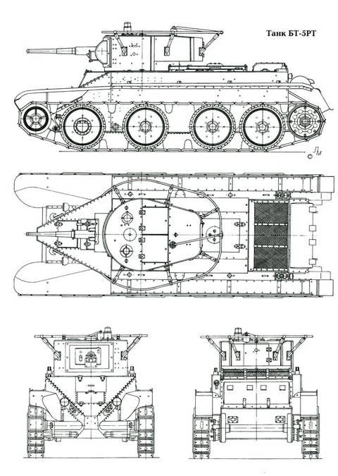 БТ-5 - лёгкий колесно-гусеничный танк OCAtI